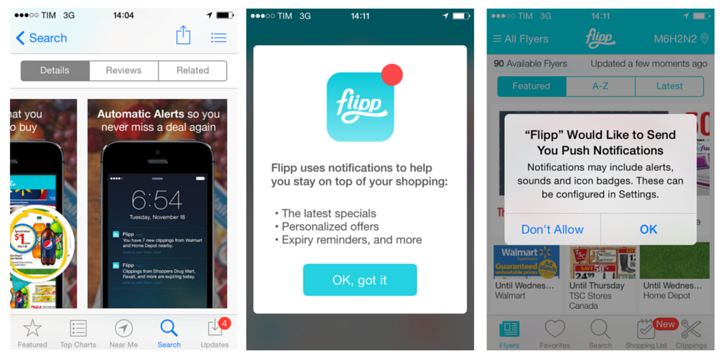 Flipp promote push notifications in their app store screenshots as well as during onboarding
